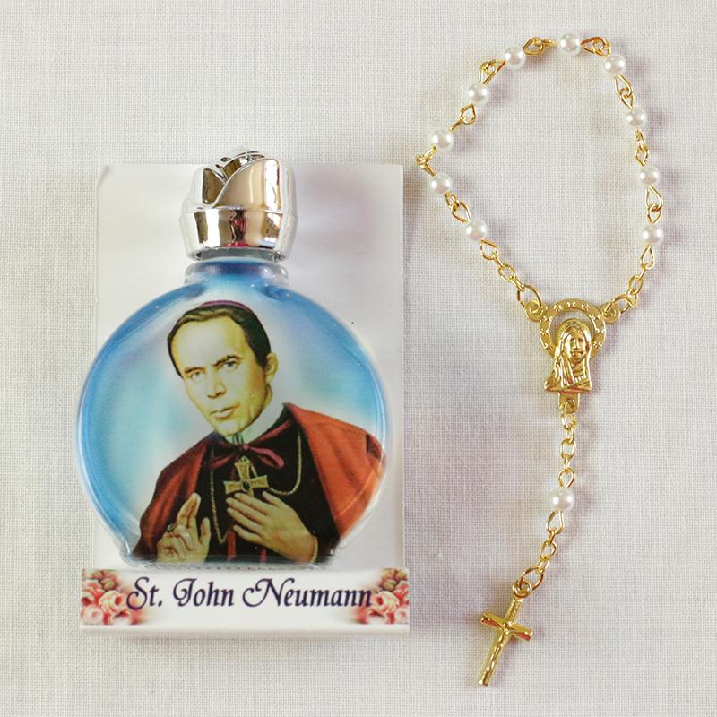 St John Neumann Holy Water Bottle And Chaplet The